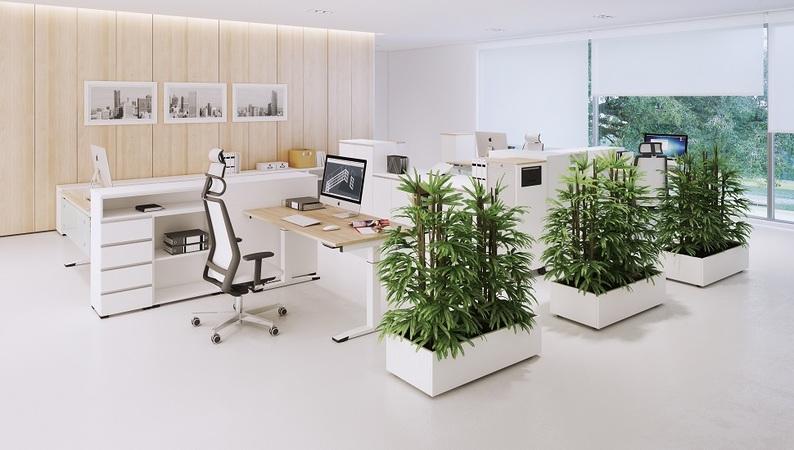 OKA PlanterBox in Perlweiß mit Stellgleitern