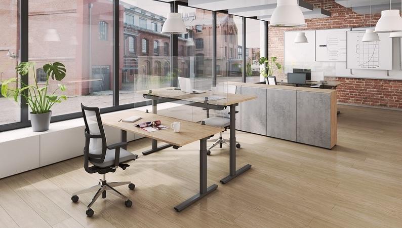 OKA Protect mit Tischhalterung in metallgrau – Tischklemme an Tischplatte befestigt