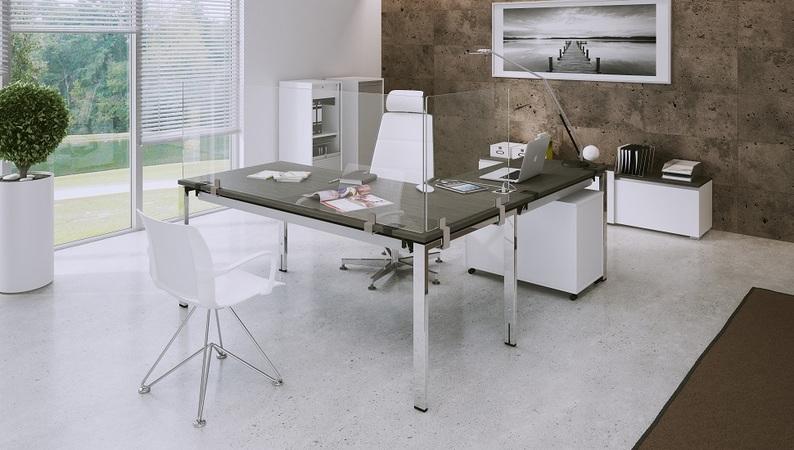 OKA Protect mit Tischhalterung in Edelstahl Metallic – Tischklemme an Tischplatte und Rahmengestell befestigt